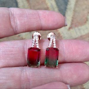 Jewelry - Watermelon Tourmaline Rose Gold Earrings